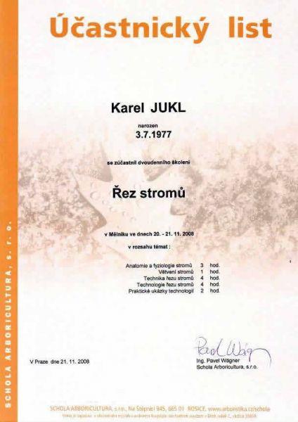 Karel Jukl - školení Řez stromů